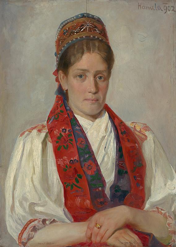 Jozef Hanula - Portrait of a Woman in a Folk Costume