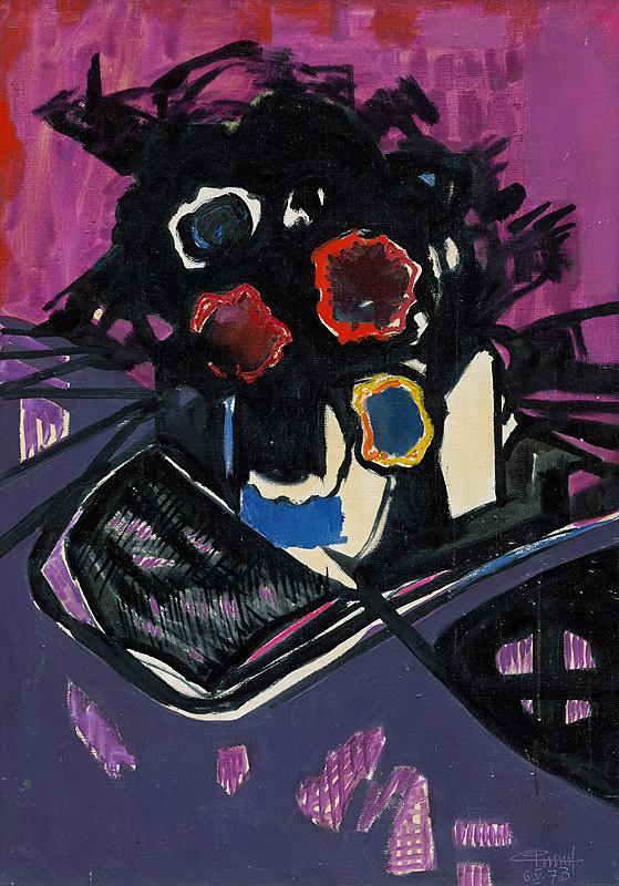 Rūdolfs Pinnis – Flowers on Purple Background