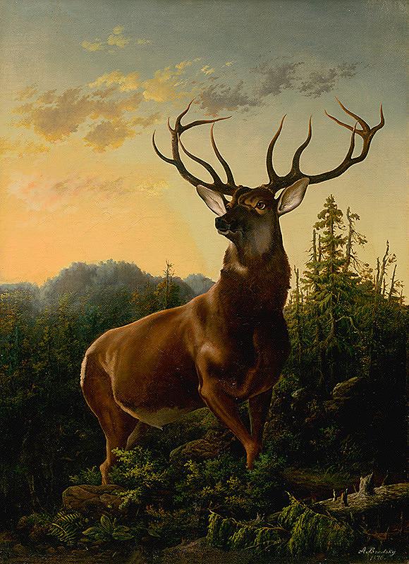 Alexander Brodszky – Deer in Forest Landscape