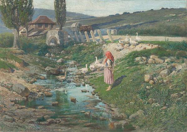 Vojtech Angyal – Landscape with a Shepherdess of Geese