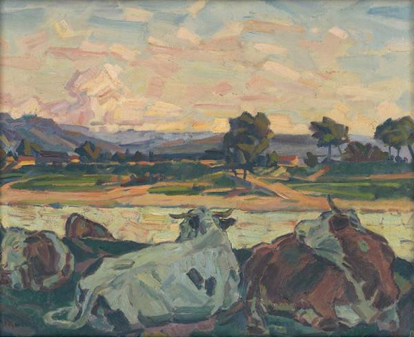 Gustáv Mallý – Cows on a River Bank