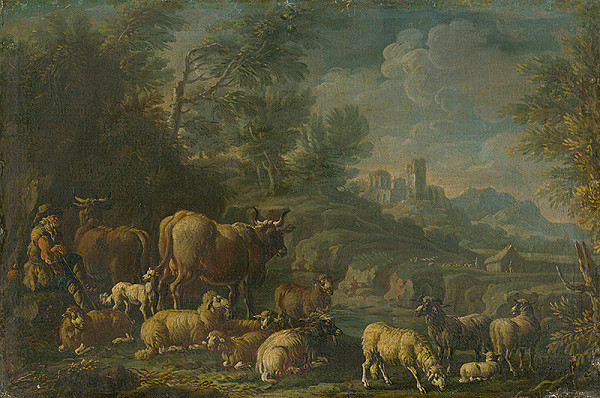 Taliansky maliar z okruhu Rosu da Tivoli – Herdsman with his Herd in Romantic Landscape