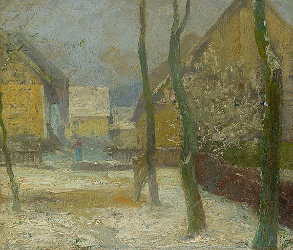 Ľudovít Čordák - Artist's Courtyard in Slanec in Winter