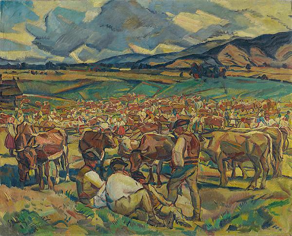 Gustáv Mallý – Cattle Market in Heľpa