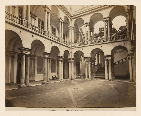 Neznámy autor - Janov. Palác dell'Università (Palazzo dell'Università). Átrium
