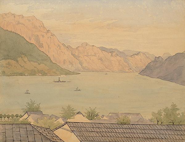 Slovenský kresliar z 3. štvrtiny 19. storočia – Jazero s plachetnicami a parníkom