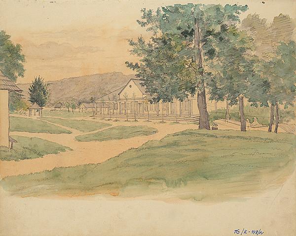 Slovenský kresliar z 3. štvrtiny 19. storočia - Budova s kolonádou v parku