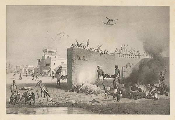 Emanuel Andrássy – Spaľovanie mŕtvych v Kalkate (Motív z cesty po východnej Indii I.)