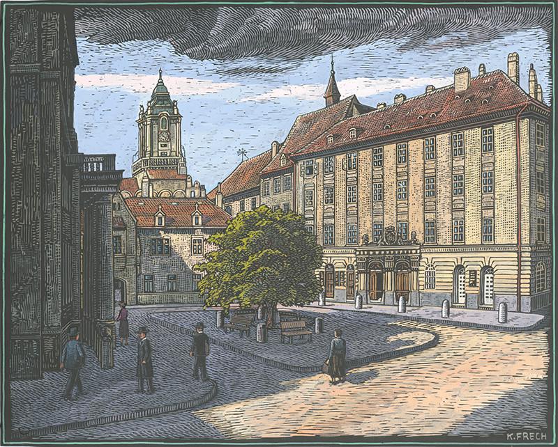Karol Frech - Primaciálne námestie v Bratislave, 1945, Galéria Mesta Bratislavy