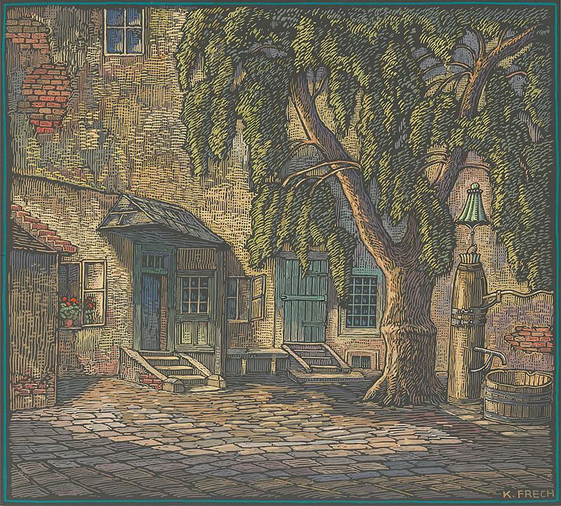 Karol Frech - Stará studňa na Drevenom námestí v Bratislave, 1920 - 1930, Galéria mesta Bratislavy