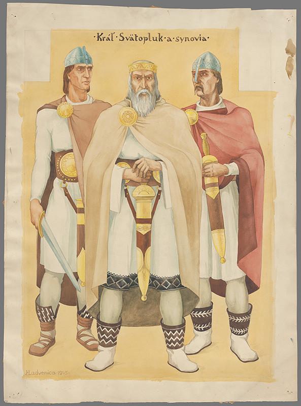 Ján Ladvenica - Kráľ Svätopluk so synmi