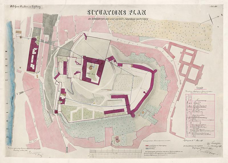 Stredoeurópsky autor z 19. storočia - Situačný plán bratislavského zámockého vrchu a okolia (1886), Slovenská národná galéria