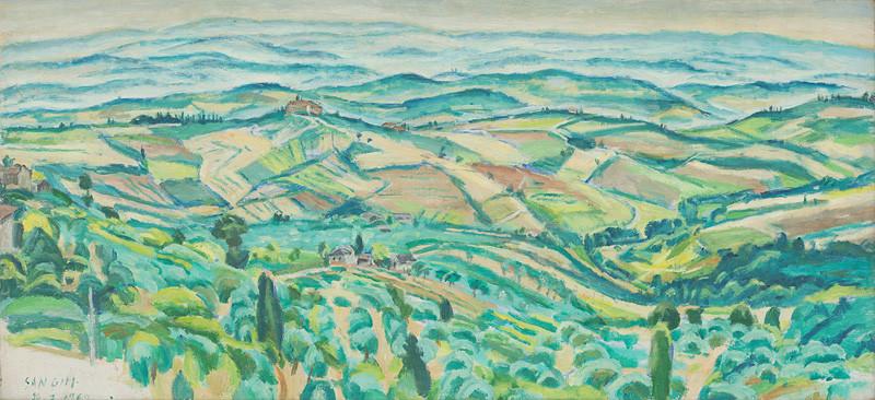 Ernest Zmeták - Pohľad na San Gimignano, 1962