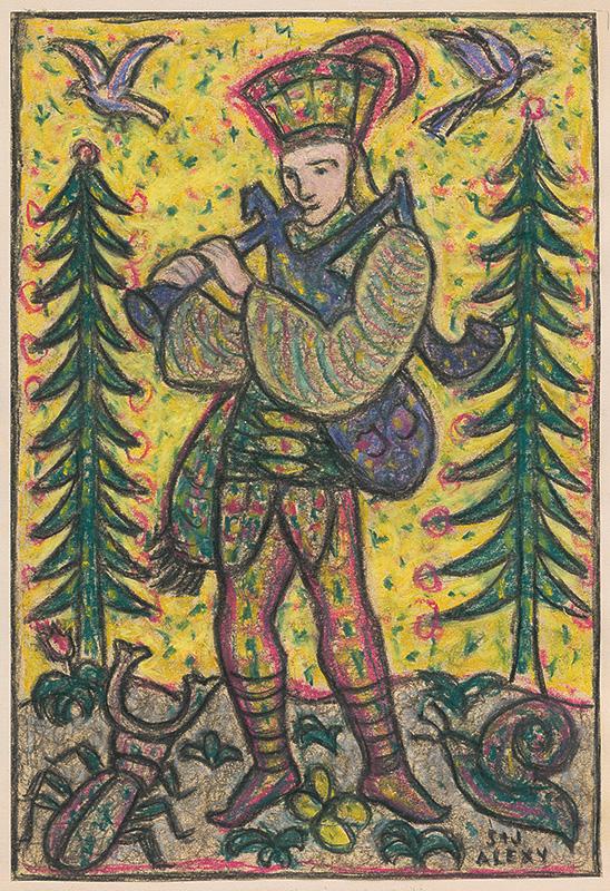 Janko Alexy, Šára Alexy - Jánošík s gajdami, 1952, Liptovská galéria Petra Michala Bohúňa