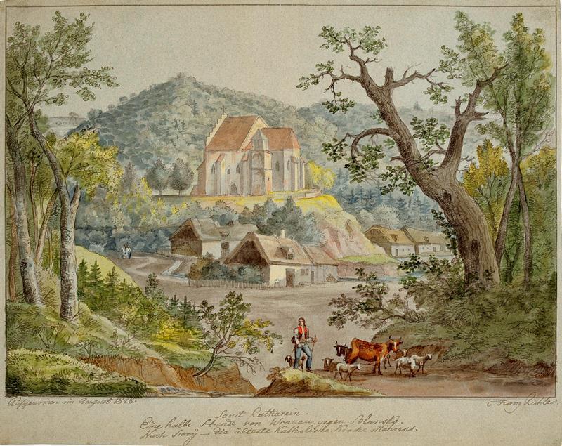 František (Franz) Richter - Svatá Kateřina, pohled na kostelík, 1828