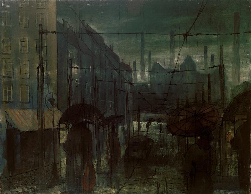 Bohumír Matal - Ulice v dešti, 1944