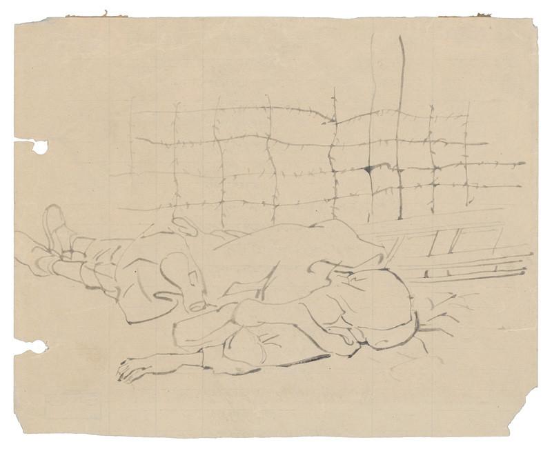 Mŕtvy za ostnatým drôtom v koncentračnom tábore