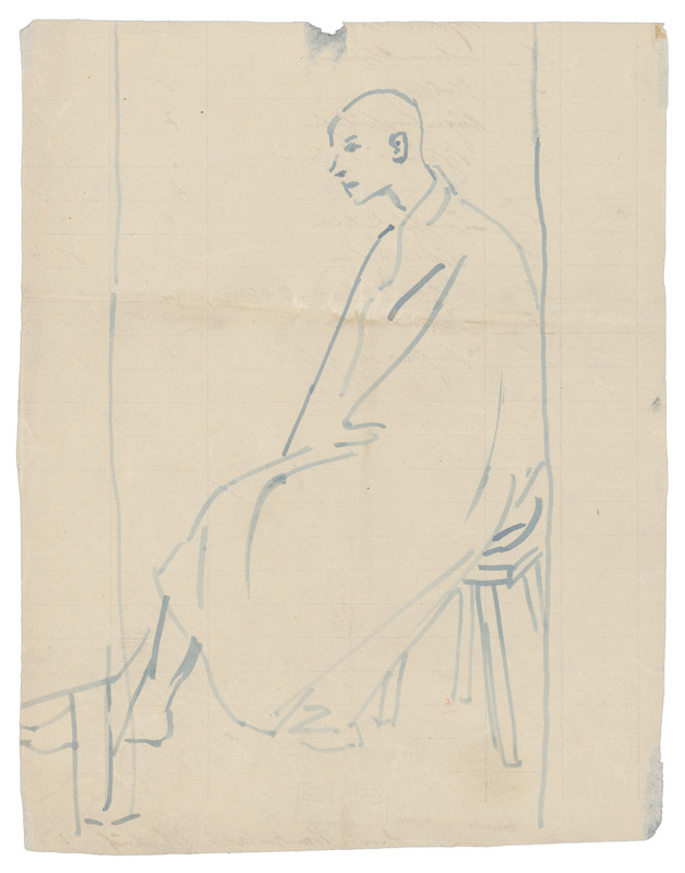 Man Sitting on a Wooden Bench