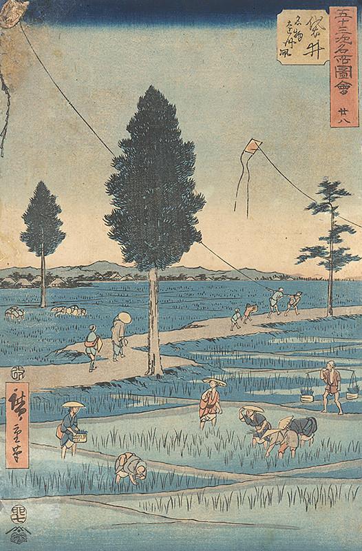 Utagawa Hirošige - Púšťanie drakov nad ryžovými poliami