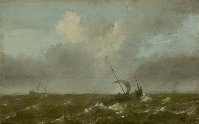 Pieter Mulier st. - Plachetnice na rozbúrenom mori, 1650