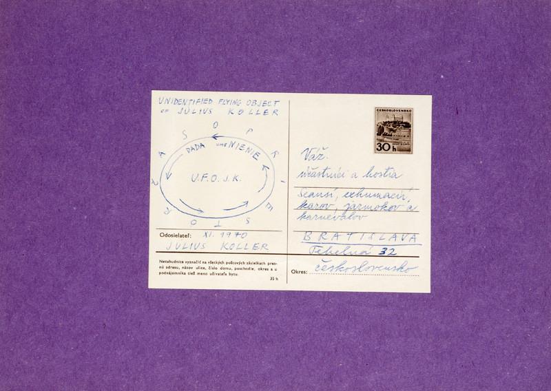 Július Koller - Unidentified Flying Object of Július Koller (Váž. Účastníci a hostia seansí, exhumácií, karov, jarmokov a karnevalov), 1970 (SNG)