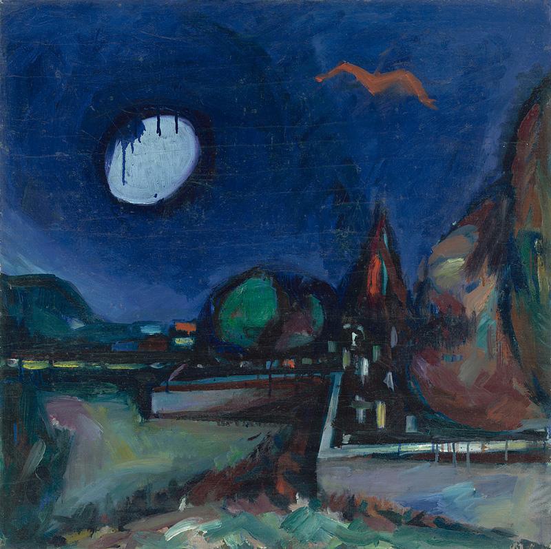 Viliam Chmel - Mesto s mesiacom a červeným vtákom, okolo 1947