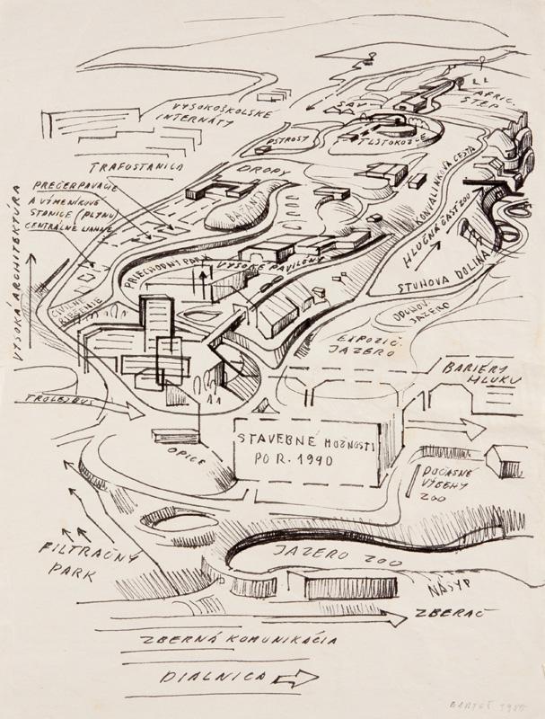 Peter Bartoš - Ekologický koncept výbehov lesného prostredia ZOO (v spolupráci špecialistov), 1984, Slovenská národná galéria, SNG