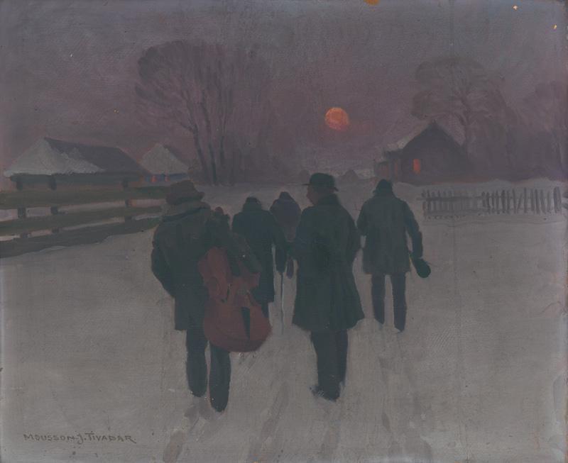 Jozef Theodor Mousson - Muzikanti sa vracajú nad ránom zasneženou krajinou, okolo 1915