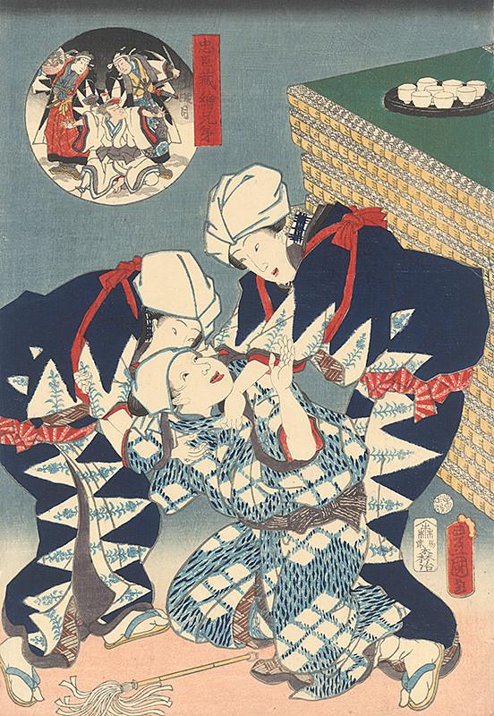 Utagawa Kunisada - Dve ženy s opilcom