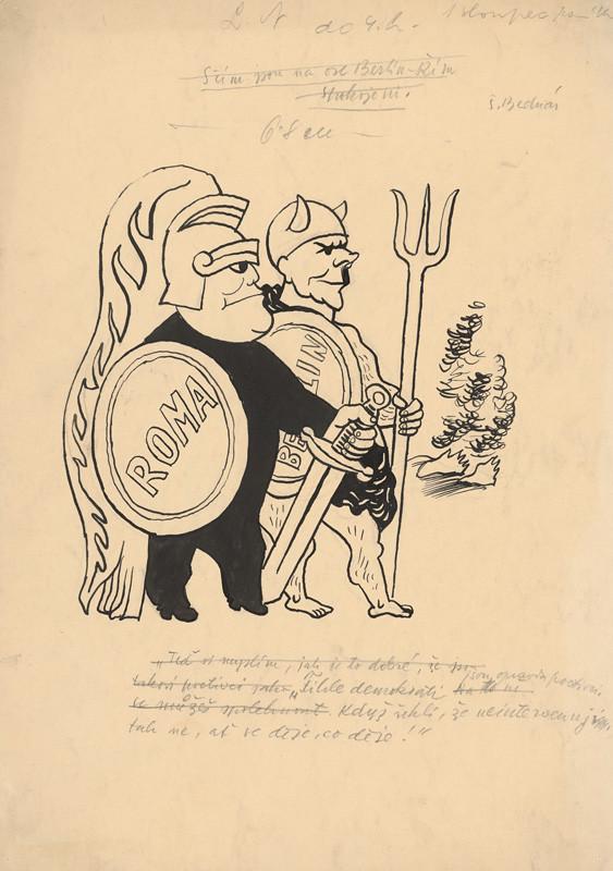 Štefan Bednár - Antickí poľovníci Mussolini a Hitler, okolo 1935
