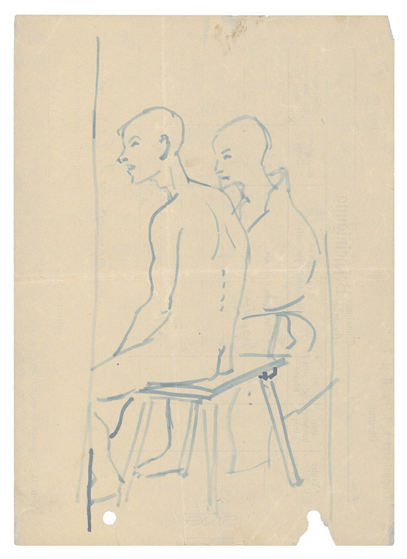 Two Men Sitting on a Bench in the Camp