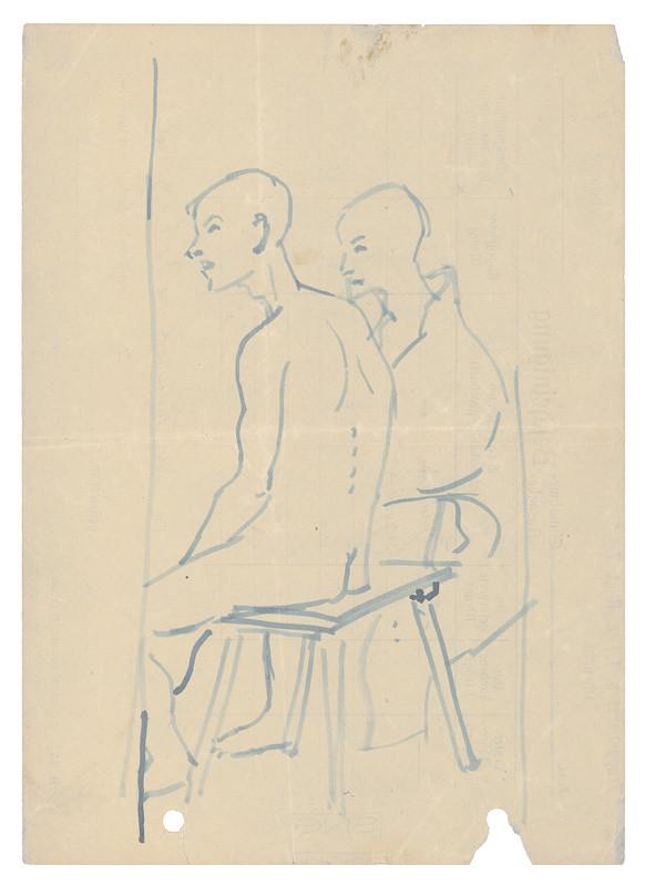 Dvaja muži sediaci na lavici v koncentračnom tábore