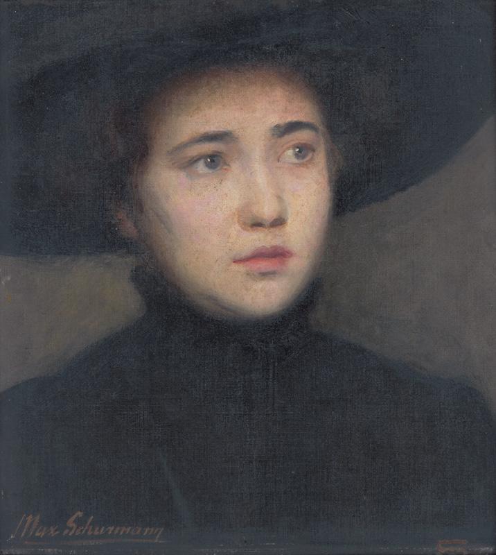 Maximilián Schurmann - Hlava ženy v čiernom klobúku, 1910–1914,  Slovenská národná galéria