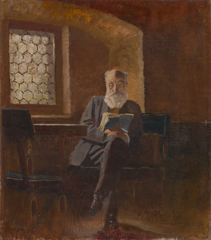Ladislav Mednyánszky - Čítajúci. Umelcov otec, barón Eduard Mednyánszky, 1890–1895, Slovenská národná galéria